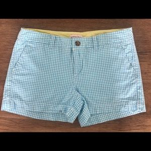 Blue Gingham Chino Shorts